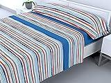 Cabello Textil Hogar - Juego de sábanas térmicas de Pirineo - 3 Piezas - 110 Gr/m2 - Mod. Rayitas (Azul, 150_x_190/200 cm)