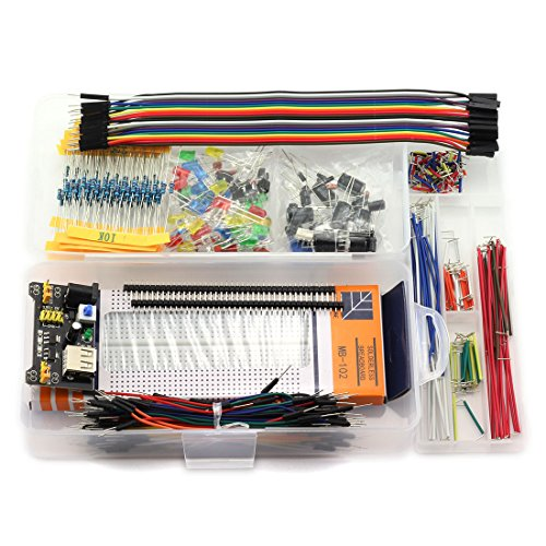 DZS Elec E3 Starter KIT Electronic Components Learning Kit 830 Breadboard, Jumper, Power Module, Resistor, Capacitor, Buzzer, Rectifier Diode, LED, Switch for Arduino, Raspberry Pi, STM32 (458pcs)