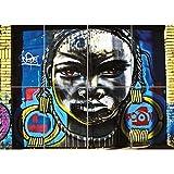 Doppelganger33 Ltd Graffiti Street Bogota African Woman Arte de la Pared Multi Panel de Carteles 47x33 Pulgadas