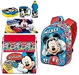 Juego de mochila 3D Mickey Mouse Music Disney, bolsa de deporte, merienda, escuela, guardería, tiempo libre