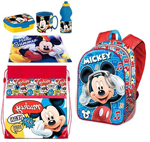 Disney Mickey Mouse Rucksack mit 3D-Motiv, Sporttasche, Lunchbox, Schule, Kindergarten, Freizeit