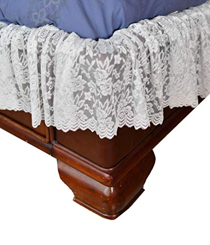 Home-X - White Lace Scalloped Elastic Bed Wrap Around, Easy...