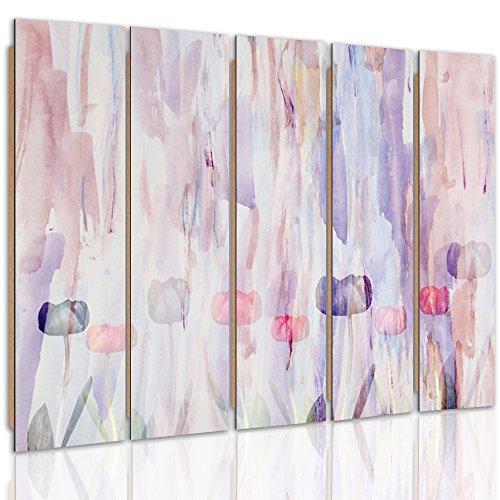 Feeby Frames, Immagine da Parete, Quadro multipannello di 5 Pannelli - Immagine Decorativa, Immagine Stampata, Immagine Deco Panel, Tipo C, 100x200 cm, Fiori, Tulipani, Viola, Colore, Arte, Astratto