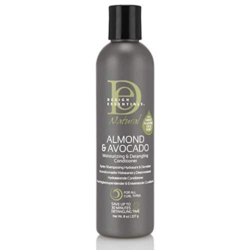 Design Essentials Natural Moisturizing & Super Detangling Sulfate-Free Conditioner with Natural Shea Butter and Coconut Milk-Almond & Avocado Collection, 8 Fl Oz
