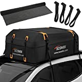 Scombi Military-Grade Waterproof Rooftop Cargo Carrier – 19 Cubic Ft. with 4 Door Hooks, Zipper/Buckle Closure, Extra Strap – Black Roof Bag for Cars with or Without Rack