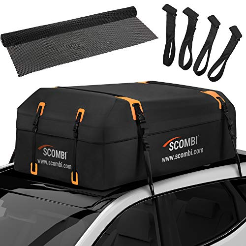 Scombi Military-Grade Waterproof Rooftop Cargo Carrier – 19 Cubic Ft. with 4 Door Hooks, Zipper Buckle Closure, Extra Strap – Black Roof Bag for Cars with or Without Rack