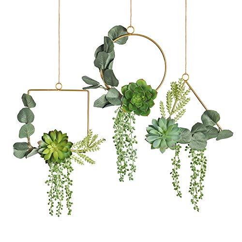 Pauwer Succulent Wedding Wreath Set of 3 Artificial Succulent Plants with...