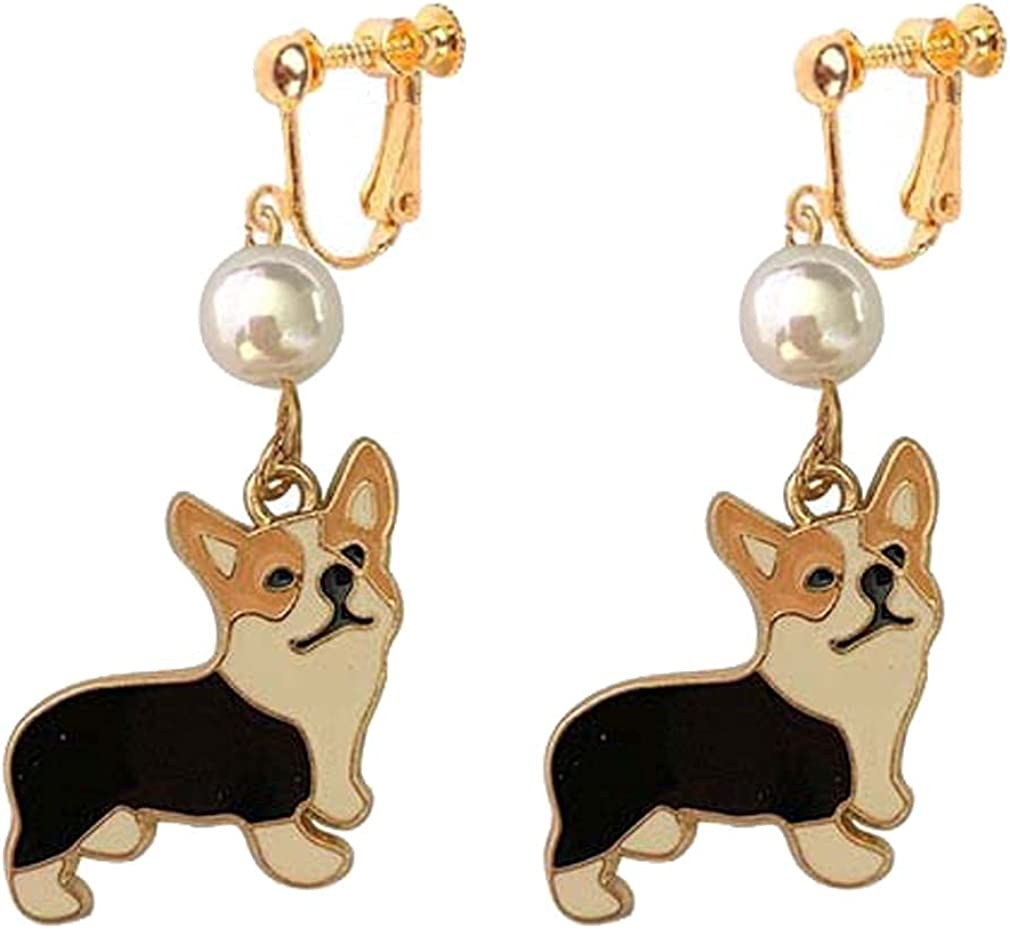 Women's Dainty Non Pierced Ears Husky Dog Dangle Clip on Earrings for Teen Girls Kids Jewelry Simulated Pearl Hoop Animal Cartoon Pet Drop Earring Fashion