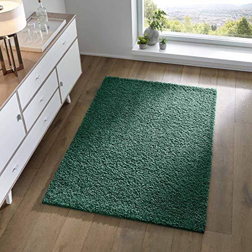 Taracarpet Shaggy Teppich Wohnzimmer Schlafzimmer Kinderzimmer Hochflor Langflor Teppiche modern grün 200x200 cm