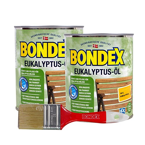 Bondex Eukalyptus-Öl, 1,5 Liter inkl. Pinsel - Schutz- und Pflegeöl für Aussen, Gartenmöbel und Terrassenöl