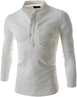 Men Solid Stand Collar Button Shirt Long Sleeve Casual Blouse T T-Shirt