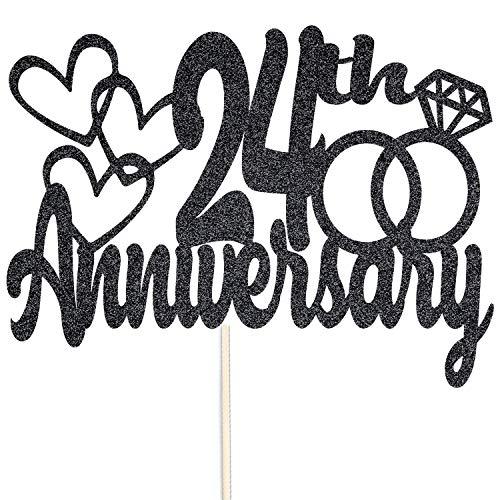 Szczęśliwej 24-tej rocznicy brokatowy czubek na tort – na zamówienie rekwizyty do dekoracji na przyjęcie – dostępne w wielu kolorach