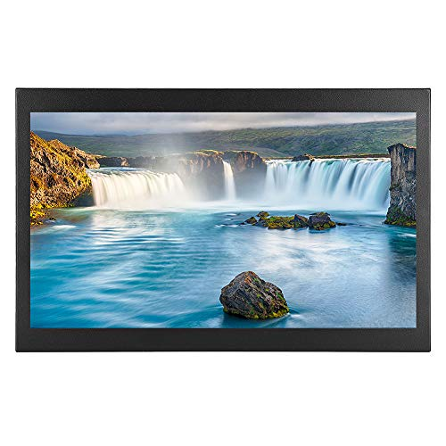 Monitor de pantalla ancha HD TFT de 15,6 pulgadas (1920x1080P)-Monitor industrial de metal completo Monitor HDMI ultrafino Pantalla 16: 9 con entradas HDMI/VGA/USB/AV/BNC y paquete de instalación(EU)