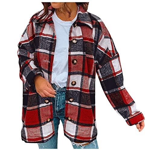 Zldhxyf Camisa a cuadros de manga larga para mujer, estilo urbano, rojo, XXL