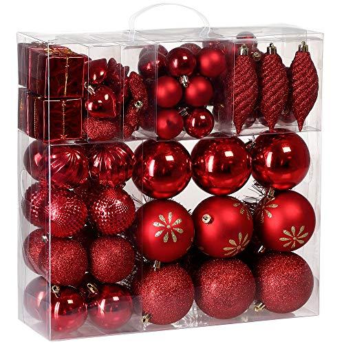 Deuba Weihnachtskugeln 103 Set Rot Aufhänger Christbaumschmuck Christbaumkugeln Weihnachtsbaumkugeln Weihnachtsbaumschmuck