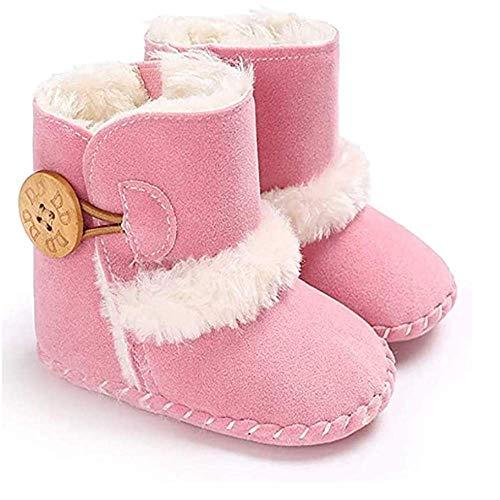 Zapatos Bebe Invierno,0-18 MesesLindos Suave de Suela Zapatos Primeros Pasos Zapatos de Invierno Cálido Botines Cuna Prewalker con Zapatos de Calcetín de Bebé (6-12 Meses, rosado)