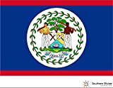 (3) country flag Belize 2x1 size - funny stickers for construction hard hat pro union working men lunch box tool box symbol window motorcycle biker car - Made and shipped in USA