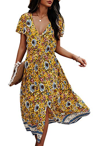 Vestido de verano para mujer, manga corta, cuello en V, con flores, tirantes, largo hasta la rodilla, suelto amarillo M
