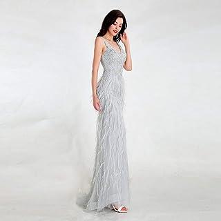 BINGQZ Noche Vestidos/Vestidos de Noche Gris Claro de diseño Tul sin Espalda Largo Elegante con Plumas de Abalorios Vestid...