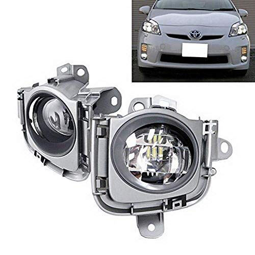 iJDMTOY Xenon White LED Fog Lights Assembly Compatible With 2010-2011 Toyota Prius, OEM Fit Fog Assy Powered by CREE XB-R5 LED Emitters