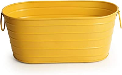 ExclusiveLane 'Glossy Yellow' Garden and Balcony Decorative Floor and Table Metal Flower Planter Pot