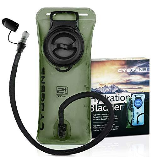 CybGene Poche a Eau, Réservoir d'eau de 2L, Poche Hydratation avec Couvercle antifuites à Large Ouverture et Couvercle de Tube d'isolation. pour la randonnée, Le vélo et l'escalade (Vert)