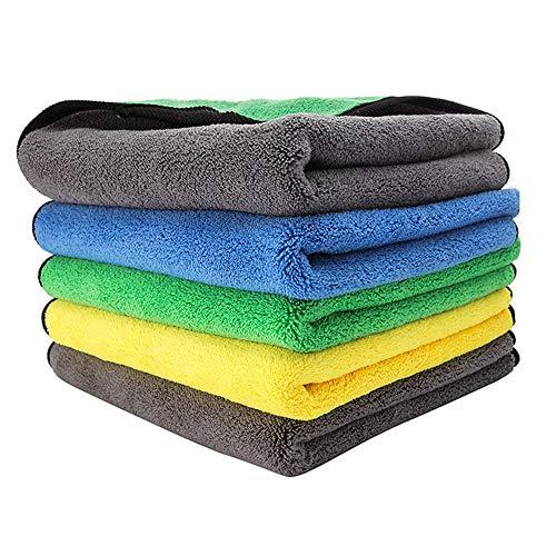 Chnrong Paquete de 5 paños de limpieza de microfibra ultra ultra de 40,6 x 40,6 cm, toallas de microfibra absorbentes de doble cara con gran rendimiento bibuloso, ideal para uso en coche y hogar