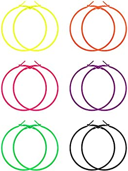 6 Pairs 80s Hoop Earring Retro Earrings Dangle Earrings Neon Earrings