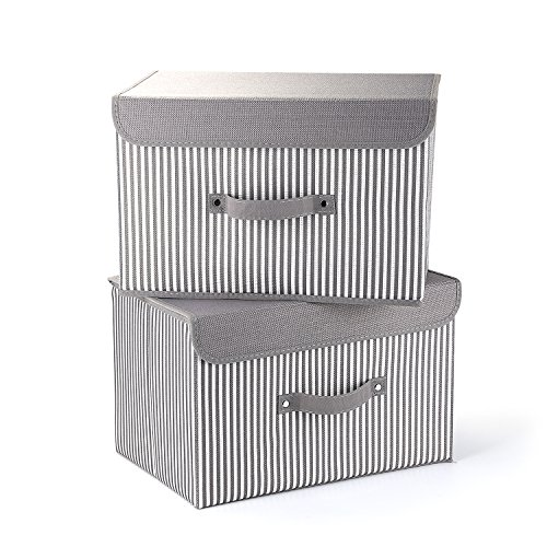 Storage Bins Set,MEE'LIFE Pack of 2 Foldable Storage Box Cube with Lids and Handles Fabric Storage Basket Bin Organizer Collapsible Drawers Containers for Nursery,Closet,Home,Bedroom(Gray Stripes)