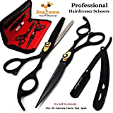 Saaqaans MSS-01 Set de Ciseaux Coiffure Professionnel - Perfectionnez pour la Coupe de Cheveux élégante, Garniture votre Barbe et Moustache (Noir)