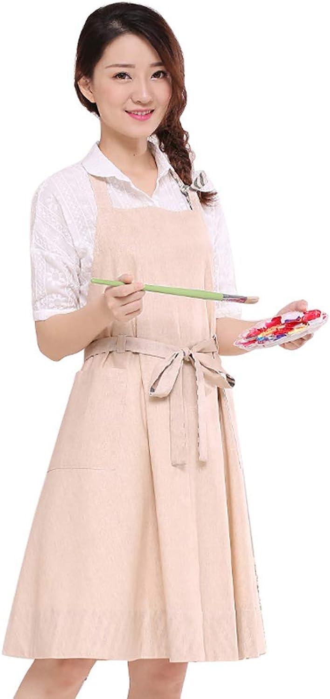 Fashion Housewife Kitchen Apron, Cotton Modern Dress Beige Bib for Women Party Cooking Artist