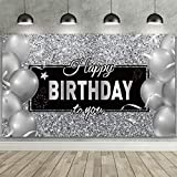 Happy Birthday Backdrop Banner, Black White Balloons Silver Happy Birthday Backdrop Background Photo Photography Banner for Men Women Birthday Anniversary Party Decorations Supplies,72.8 x 43.3 Inch