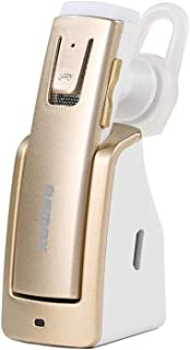 Remax Bluetooth Wireless Headset Gold In-ear Earphone with charging duck Handsfree Headset for Mobile Phones RB-T6C