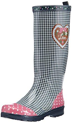 Playshoes Damen Gummistiefel, trendiger Regenstiefel aus Naturkautschuk, mit herausnehmbarer Innensohle, mit Landhaus-Motiv ,Blau (marine 11) ,36