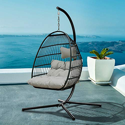 Patio Hanging Chair, Stand Swing Egg Chair, Wicker Hammock Chair with Aluminum Frame and UV Resistant Cushions for Indoor, Outdoor, 265lbs Weight Capacity (Light Grey)