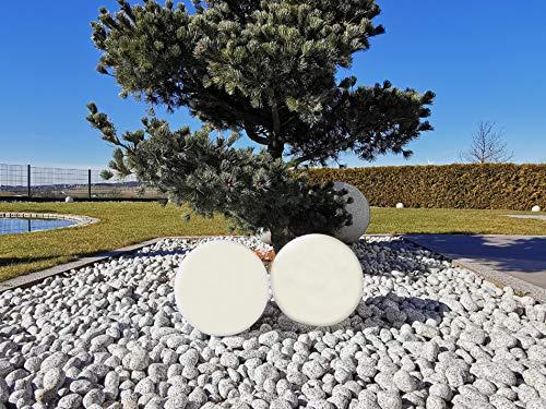 Trango 2er Set SO-003 IP44 LED-Solarleuchte in 30cm Durchmesser Weiß matt mit 3000K warmweiß LED & RGB Farbwechsel LED *SNOWY* Solarkugel, Leuchtkugel, Außenleuchte, Kugellampe, Gartenleuchte, Ball