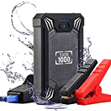 Car Battery Jump Starter Portable - 600A Peak Waterproof 12V Portable Battery Booster Pack (up to 4.0L Gas Or 2.0L Diesel Engine) Safe Auto Power Bank with USB Port, Smart Clamps & LED Flashlight