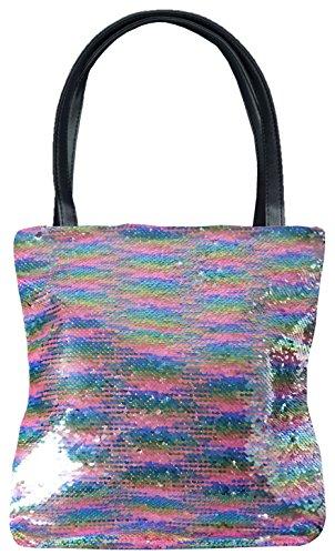 mygoodtime Pailletten Tasche Handtasche Damen Shopper Einkaufs-Strandtasche Metallic Glitzer Pastell Silber Bunt