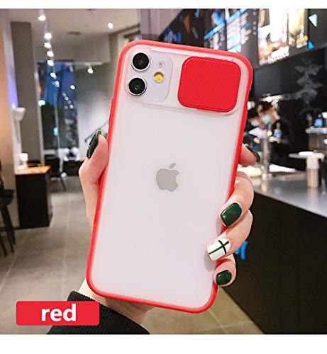 2020 New Frosted Transparent Phone Back Case for iPhone 11 Pro Max,Slide Camera Lens Protection Phone Case for iPhone 11,Shockproof Anti-Fall Silicone Phone Case (Red, for iPhone 11)