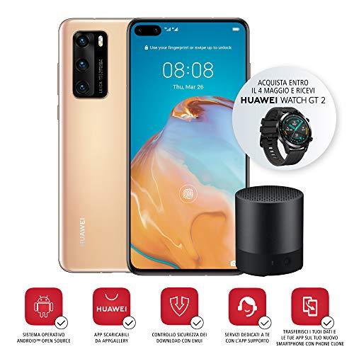 """Alto-falante Bluetooth e smartphone Huawei P40, tela acústica de 6.1 """", câmera tripla Leica 50 + 16 + 8MP, núcleo Kirin 990 5G Octa, ouro (versão italiana)"""