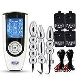 Elektro/E-Stim Sex Set mit 3 Edelstahl Analplug, Folter Elektrostimulation Prostata Stimulator SM...