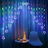 CaCaCook Cadena de luces para cortina de ventana, copo de nieve, 8 modos de luz intermitente, luces navideñas impermeables para bodas, fiestas, jardines, dormitorios, exteriores, interiores