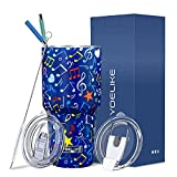 Yoelike Music Note Tumbler 30 oz Stainless Steel Double Wall Vacuum Insulated Cup with Straws, Splash Proof Lid, Straw Clean Brush, Tips for Fan Coaches Mom Men Sports Travel, Keep Drinks Cold and Hot