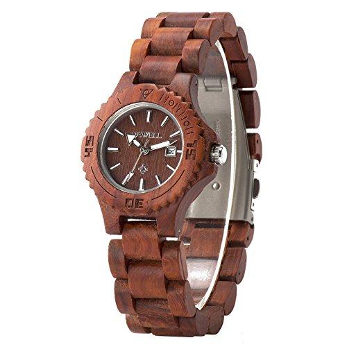 Bewell Sandalwood reloj de las mujeres pequeñas cara de madera pulsera simple reloj de pulsera para las mujeres ligero y Nightlight W020AL (Sándalo Rojo)