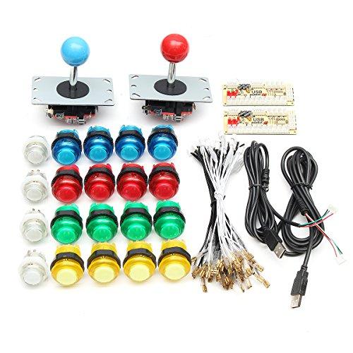 C-FUNN Colores Completos Botones del Interruptor 2 USB Encoder 2 Joysticks Kit De Bricolaje Azul Rojo para El Controlador De Juego Acarde