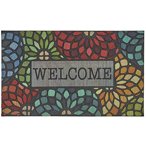 Mohawk Home 4923 18306 018030 EC Welcome Stained Glass Floret Doormat, Multi Color