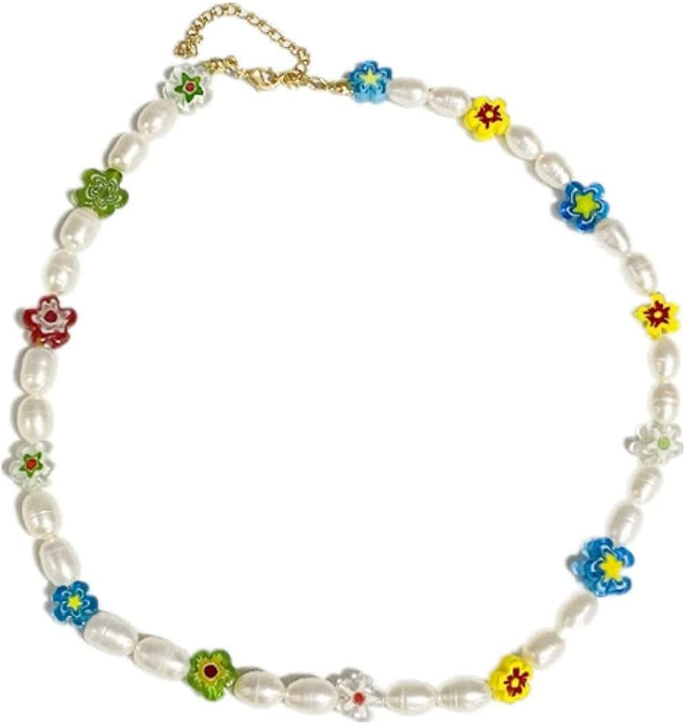LJQJYFC Enamel FlowersNatural ColorNecklaceCollarbonewith PearlColor Candyfor WomenValentine'sDayMother'sDayGifts