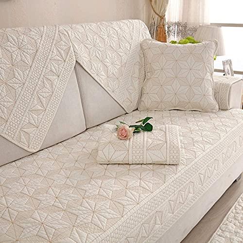 HZYDD Funda de sofá acolchada reversible para sofá, funda de algodón, color sólido, cojín para perro, protector de muebles para sala de estar (se vende por pieza), color crema y blanco