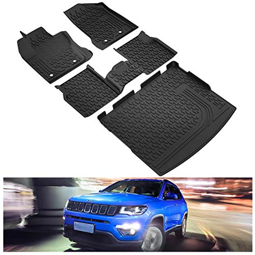 Kiwi Master Floor Mats & Cargo Liners Set Compatible for 2017-2021 Jeep Compass Accessories Front &...