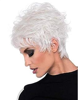 LDSBGJ Peluca corta peluca blanca esponjosa femenina de mediana edad y pelucas de edad avanzada